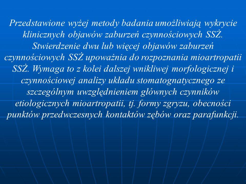 Przedstawione wyżej metody badania umożliwiają wykrycie klinicznych objawów zaburzeń czynnościowych SSŻ.