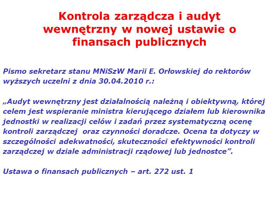 Kontrola zarządcza i audyt wewnętrzny w nowej ustawie o finansach publicznych