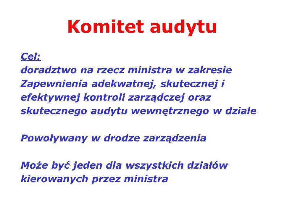 Komitet audytu Cel: doradztwo na rzecz ministra w zakresie