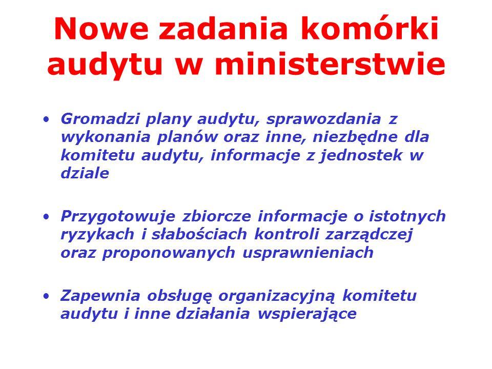 Nowe zadania komórki audytu w ministerstwie