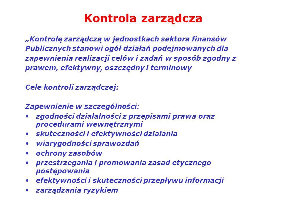 """Kontrola zarządcza """"Kontrolę zarządczą w jednostkach sektora finansów"""