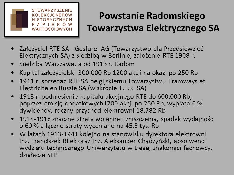 Powstanie Radomskiego Towarzystwa Elektrycznego SA