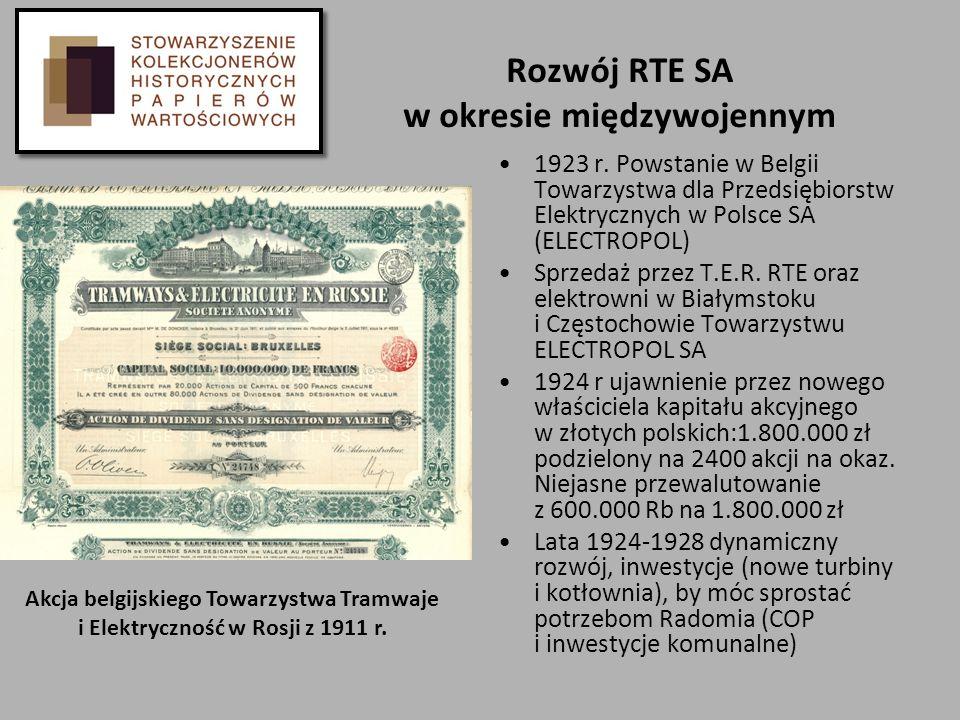 Rozwój RTE SA w okresie międzywojennym