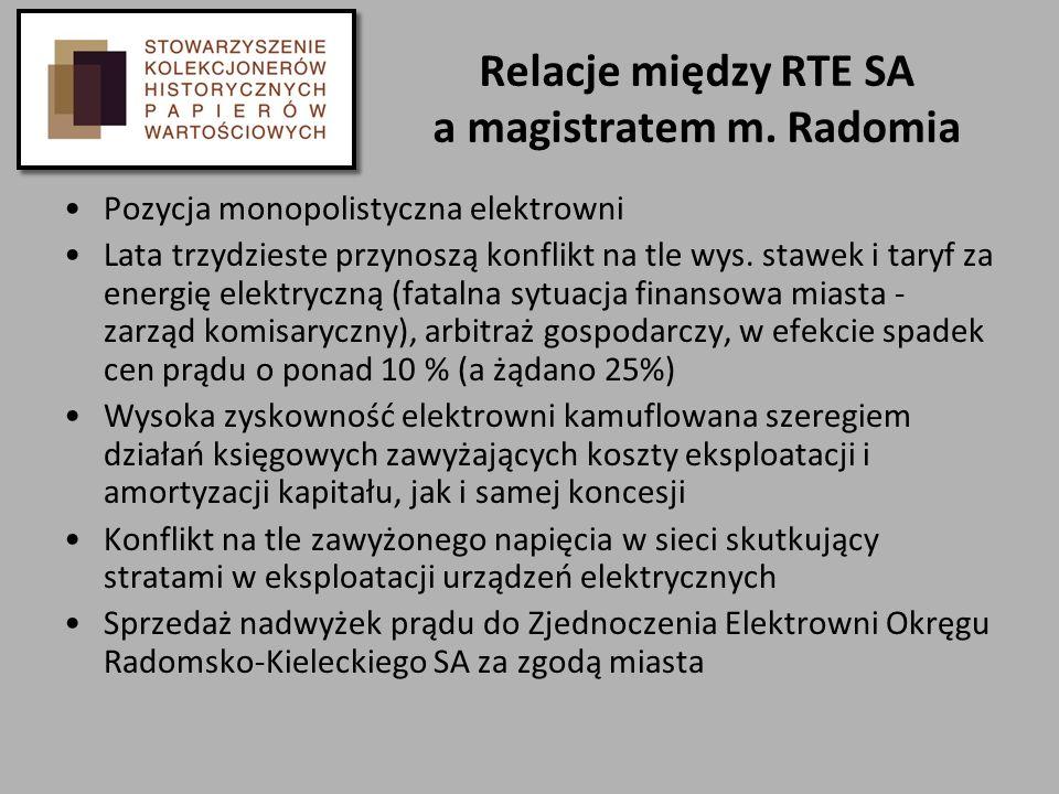 Relacje między RTE SA a magistratem m. Radomia