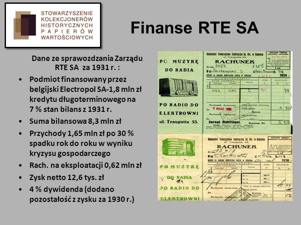 Dane ze sprawozdzania Zarządu RTE SA za 1931 r. :