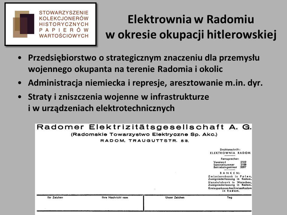Elektrownia w Radomiu w okresie okupacji hitlerowskiej