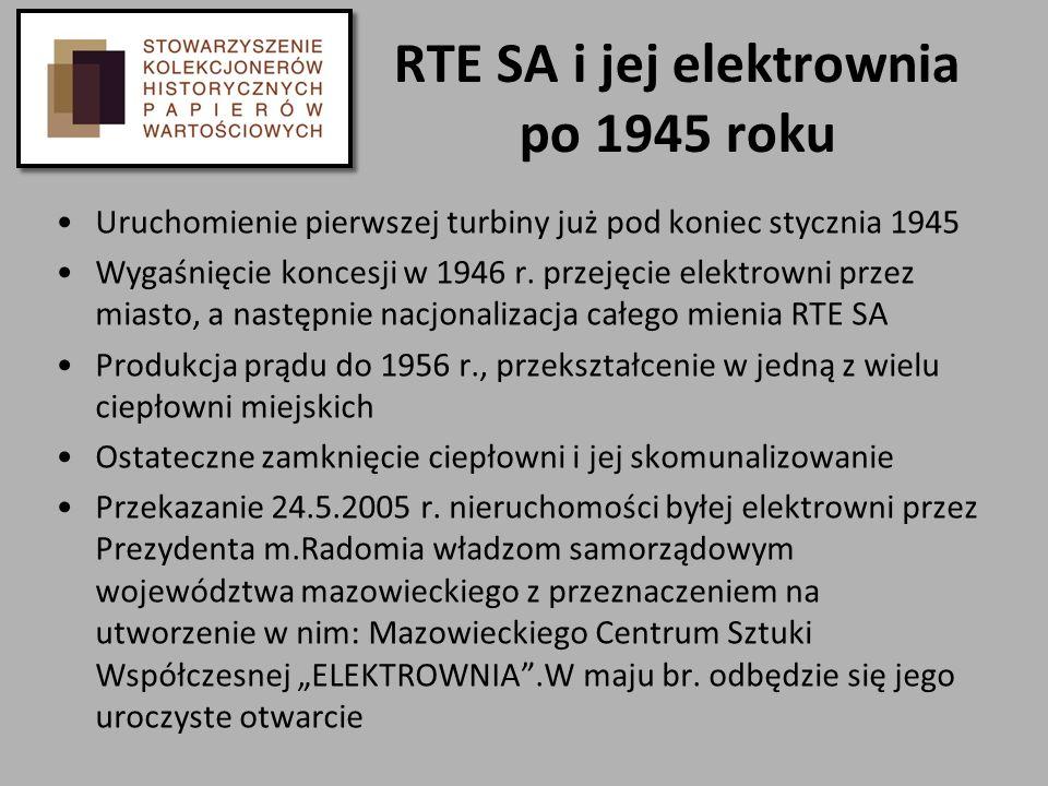 RTE SA i jej elektrownia po 1945 roku