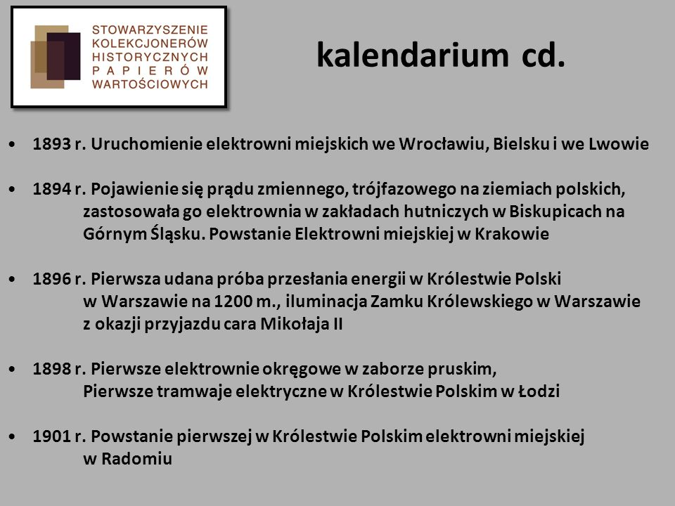 kalendarium cd. 1893 r. Uruchomienie elektrowni miejskich we Wrocławiu, Bielsku i we Lwowie.
