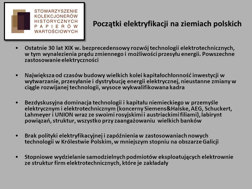 Początki elektryfikacji na ziemiach polskich