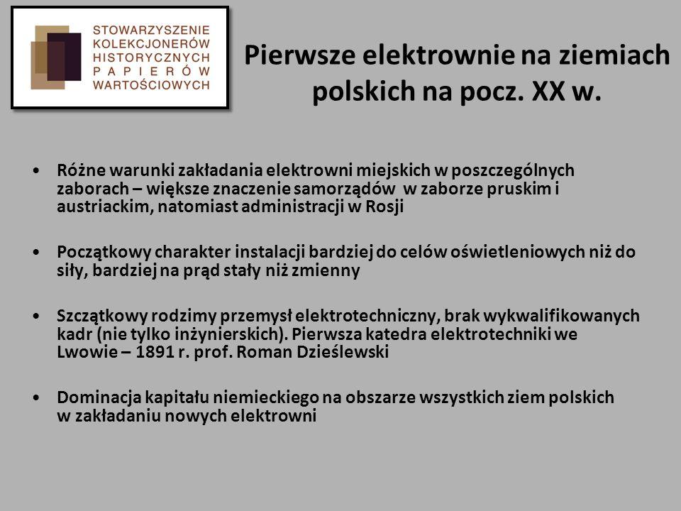 Pierwsze elektrownie na ziemiach polskich na pocz. XX w.