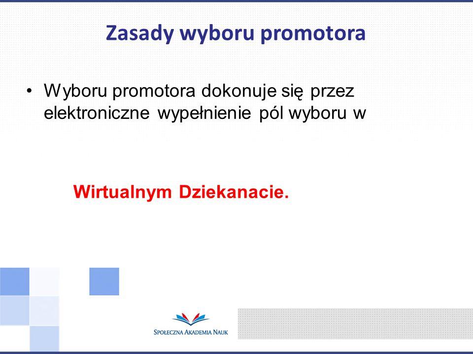 Zasady wyboru promotora