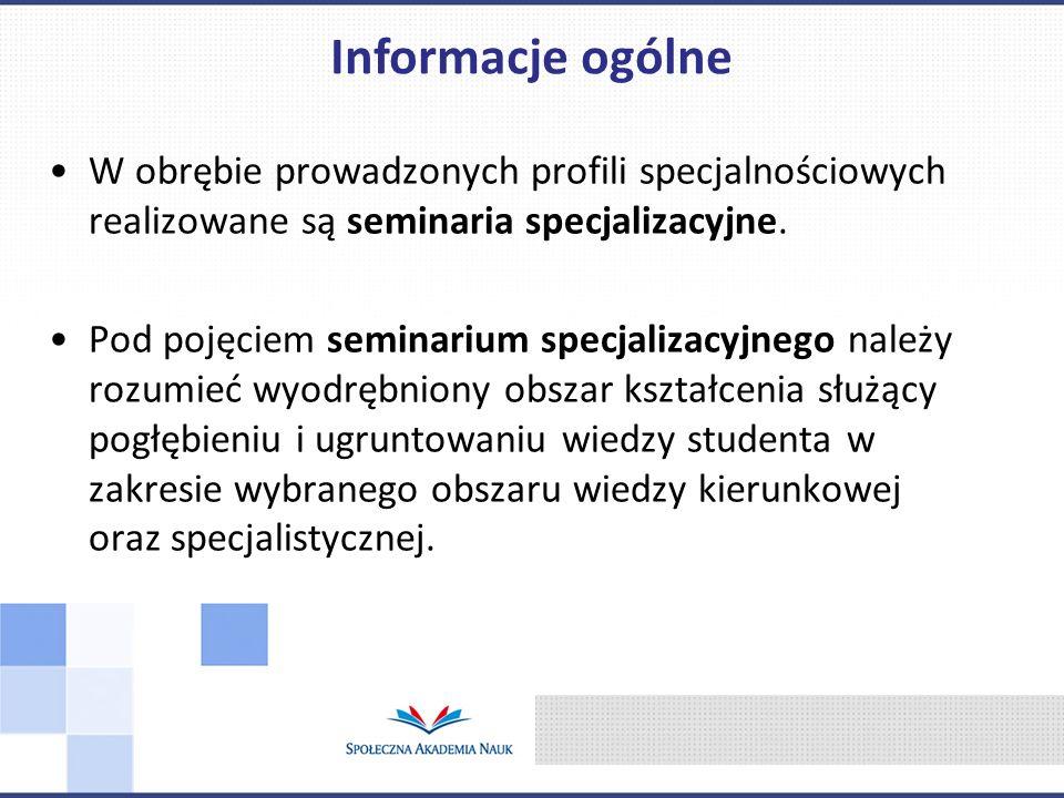 Informacje ogólne W obrębie prowadzonych profili specjalnościowych realizowane są seminaria specjalizacyjne.