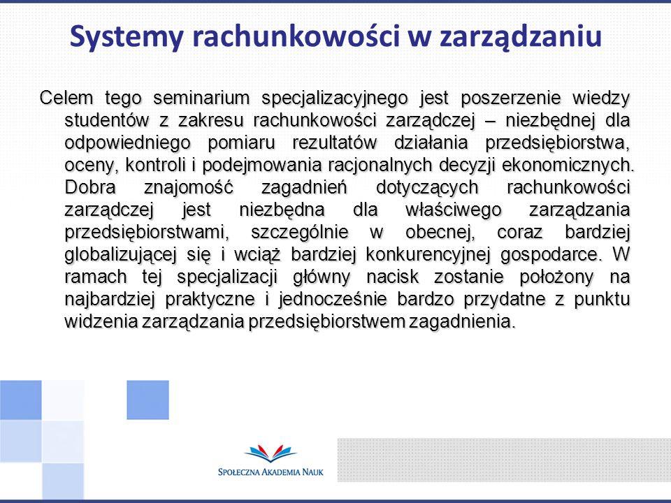 Systemy rachunkowości w zarządzaniu