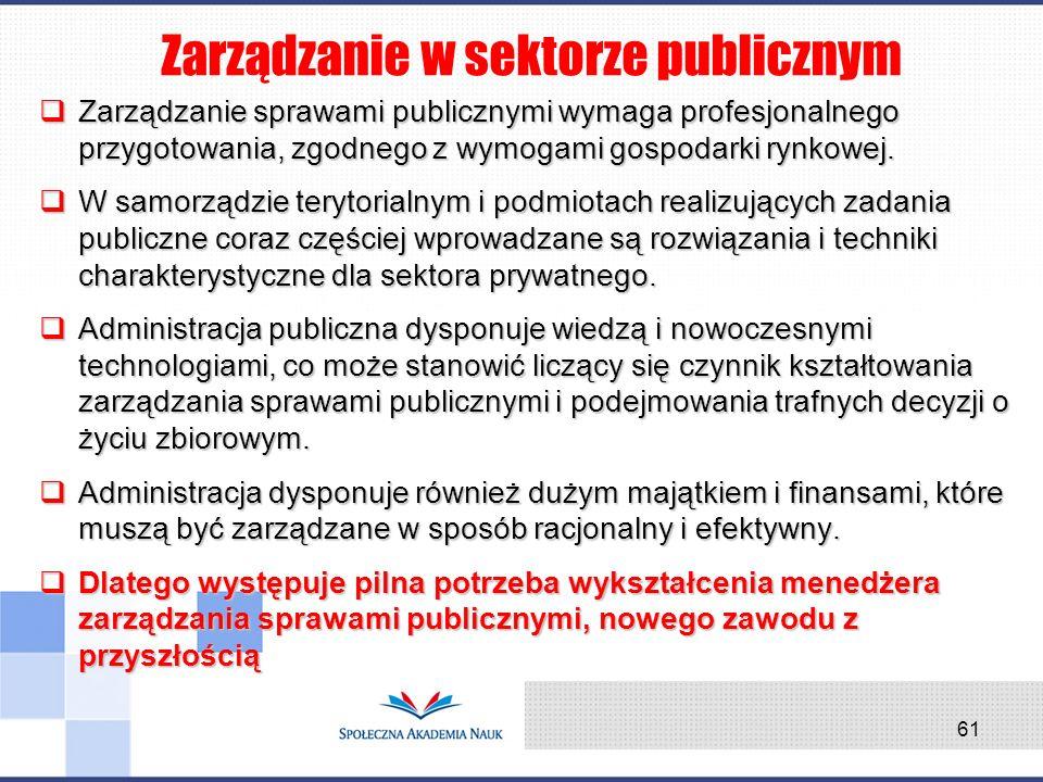 Zarządzanie w sektorze publicznym