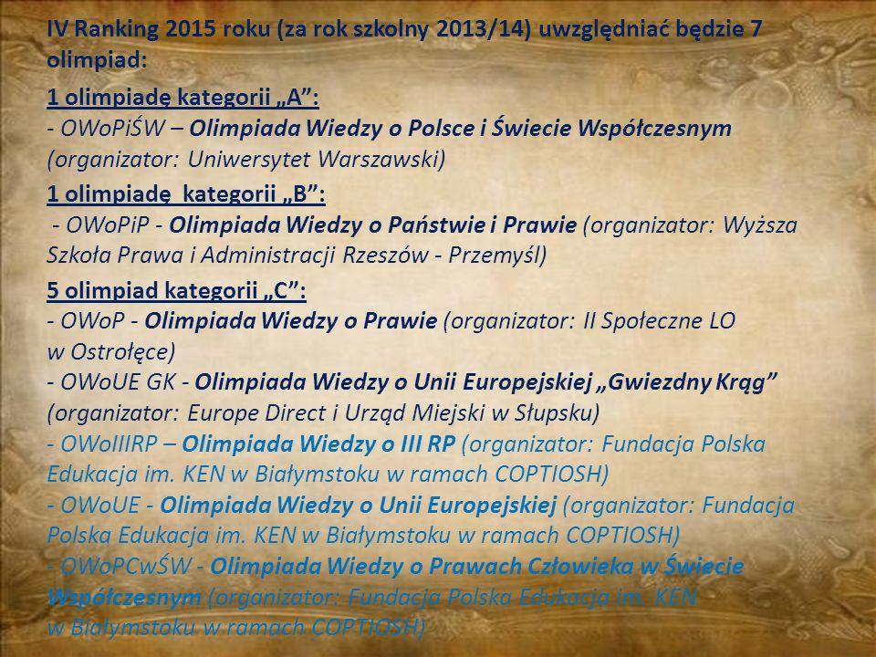 IV Ranking 2015 roku (za rok szkolny 2013/14) uwzględniać będzie 7 olimpiad: