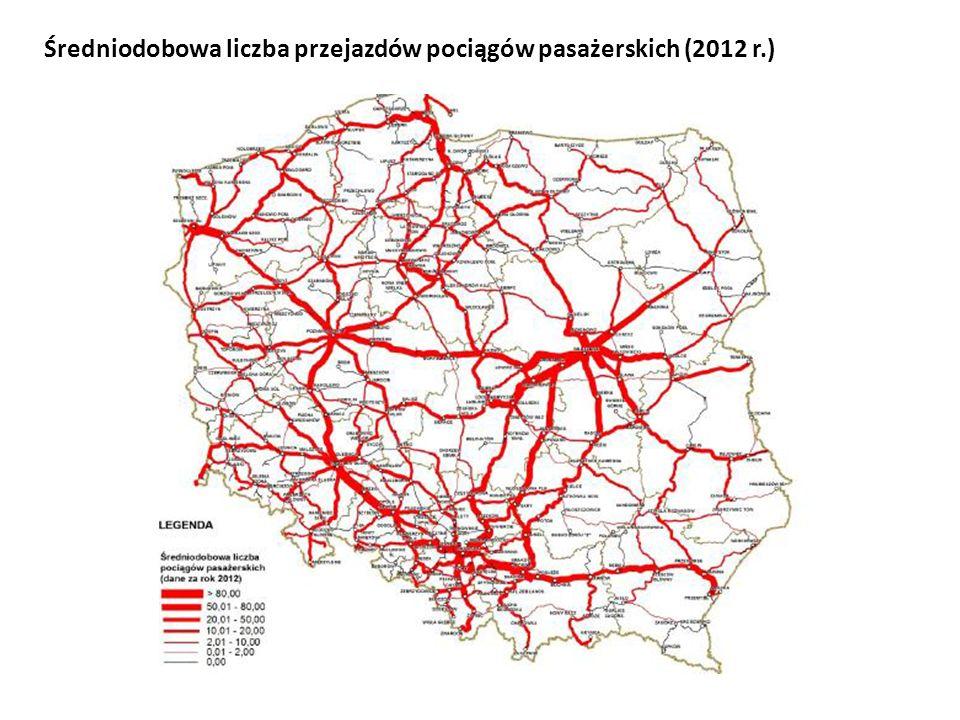 Średniodobowa liczba przejazdów pociągów pasażerskich (2012 r.)