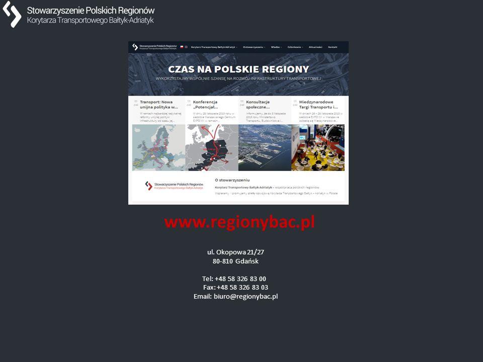 Dziękuję za uwagę. www.regionybac.pl ul. Okopowa 21/27 80-810 Gdańsk