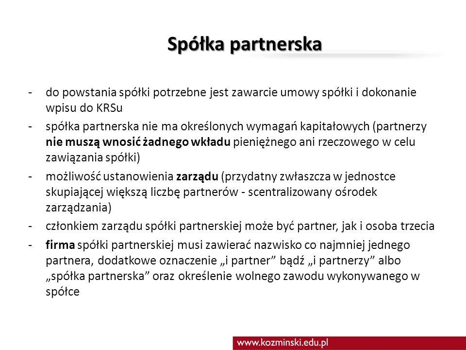 Spółka partnerska do powstania spółki potrzebne jest zawarcie umowy spółki i dokonanie wpisu do KRSu.