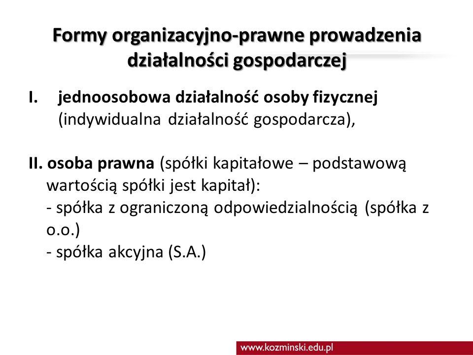 Formy organizacyjno-prawne prowadzenia działalności gospodarczej