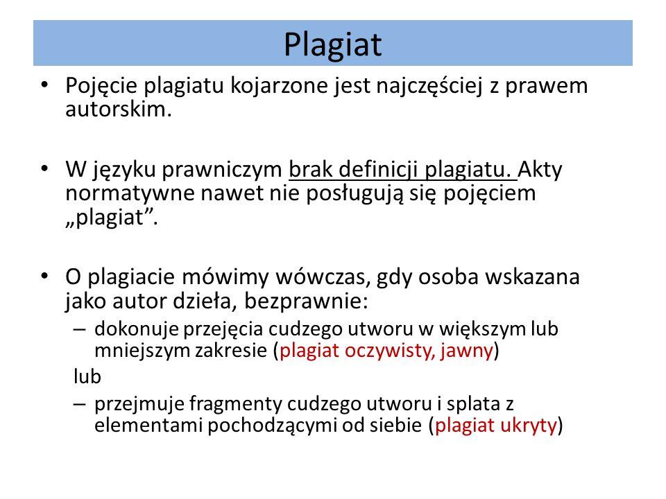 Plagiat Pojęcie plagiatu kojarzone jest najczęściej z prawem autorskim.