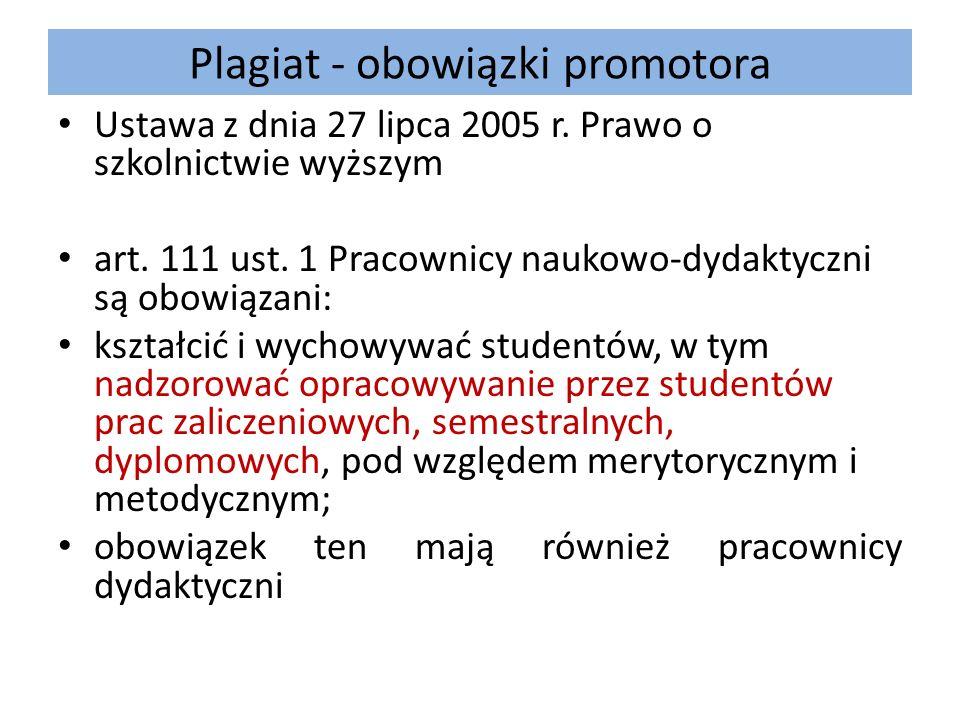 Plagiat - obowiązki promotora