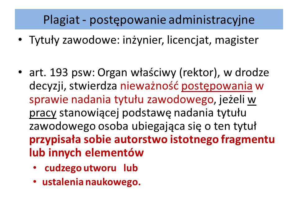 Plagiat - postępowanie administracyjne