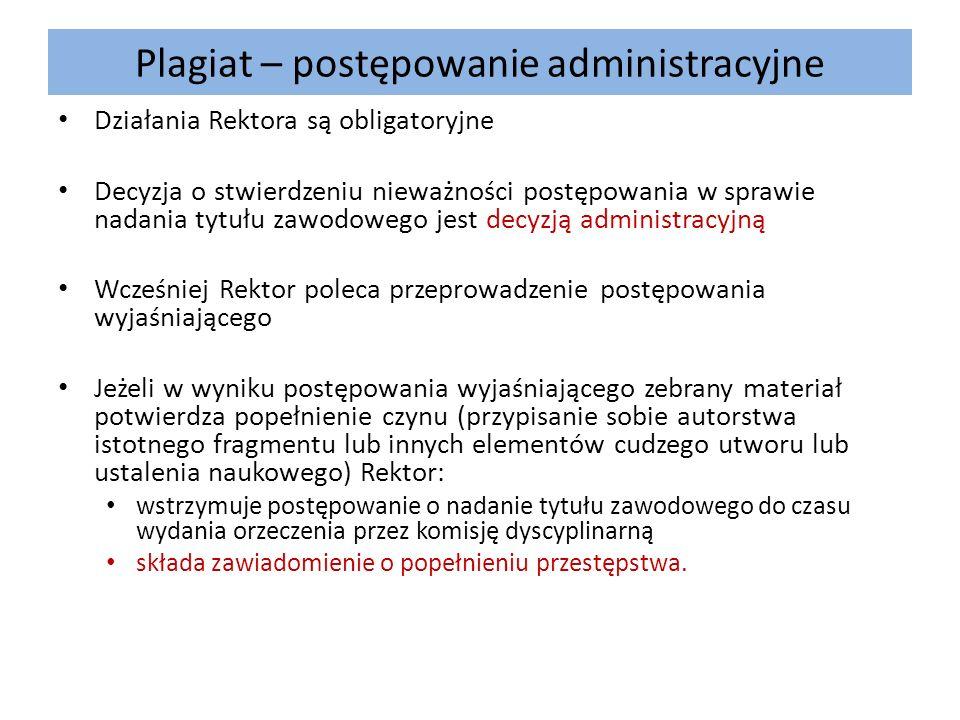 Plagiat – postępowanie administracyjne