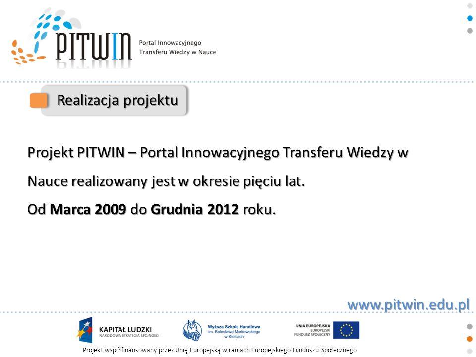Realizacja projektu Projekt PITWIN – Portal Innowacyjnego Transferu Wiedzy w Nauce realizowany jest w okresie pięciu lat.