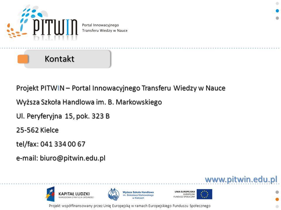 Kontakt Projekt PITWIN – Portal Innowacyjnego Transferu Wiedzy w Nauce