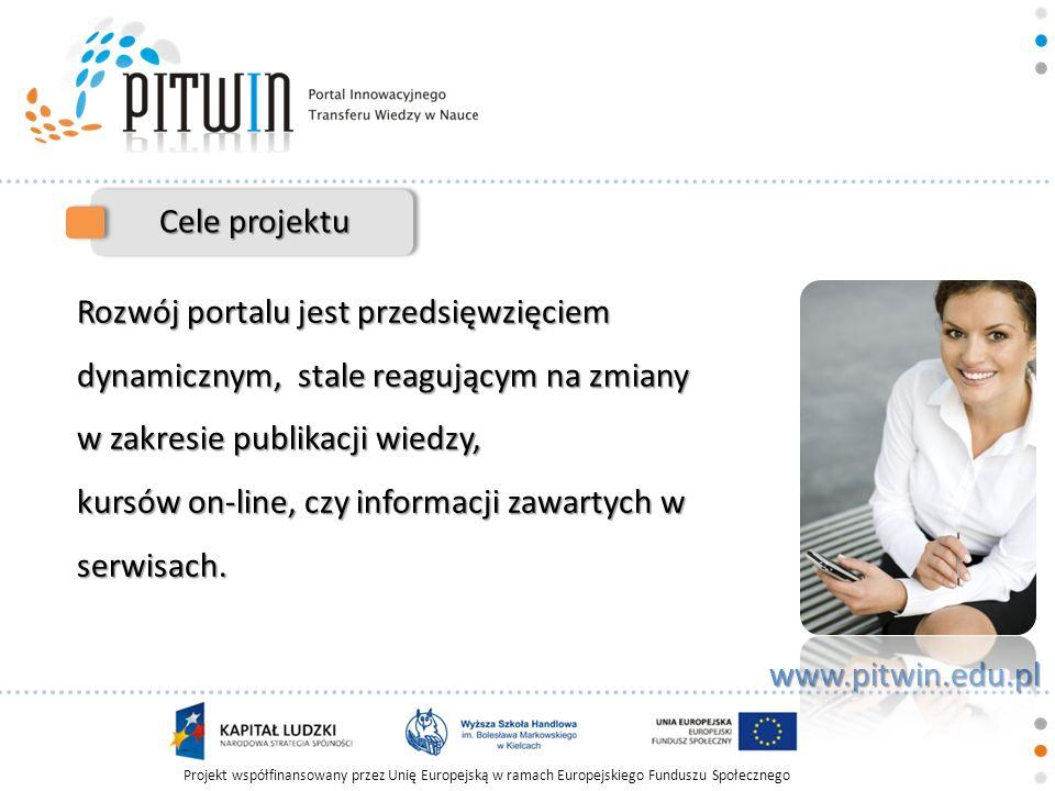 Cele projektu Rozwój portalu jest przedsięwzięciem dynamicznym, stale reagującym na zmiany w zakresie publikacji wiedzy,