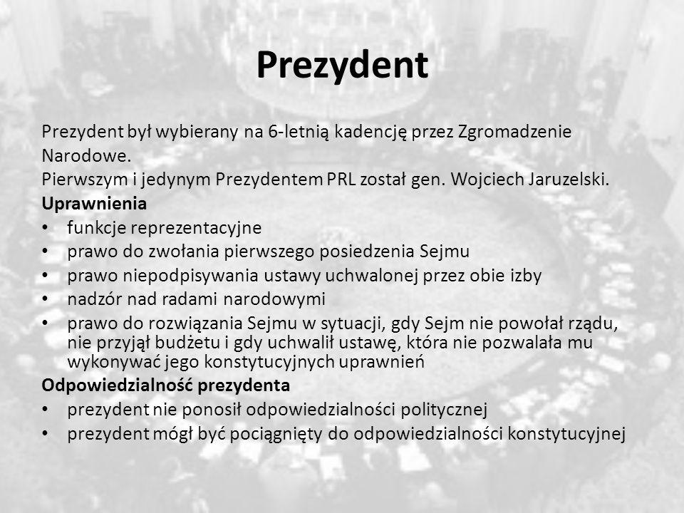 Prezydent Prezydent był wybierany na 6-letnią kadencję przez Zgromadzenie. Narodowe.