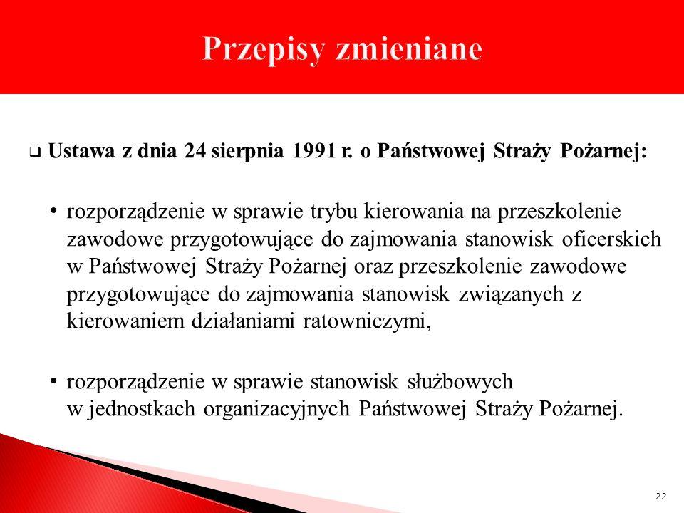 Przepisy zmieniane Ustawa z dnia 24 sierpnia 1991 r. o Państwowej Straży Pożarnej: