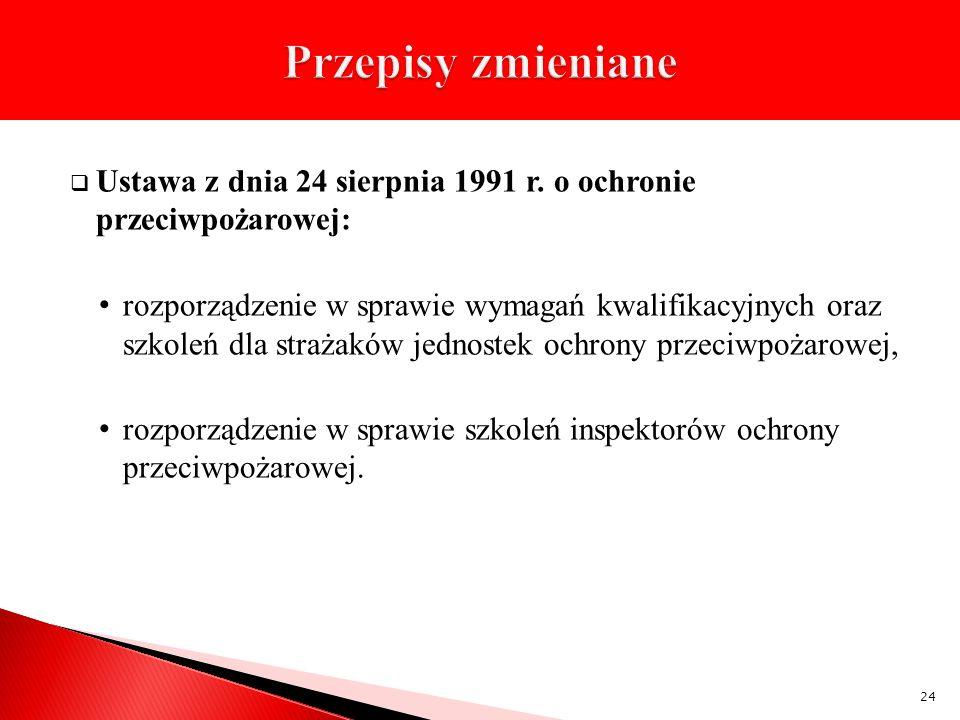 Przepisy zmieniane Ustawa z dnia 24 sierpnia 1991 r. o ochronie przeciwpożarowej: