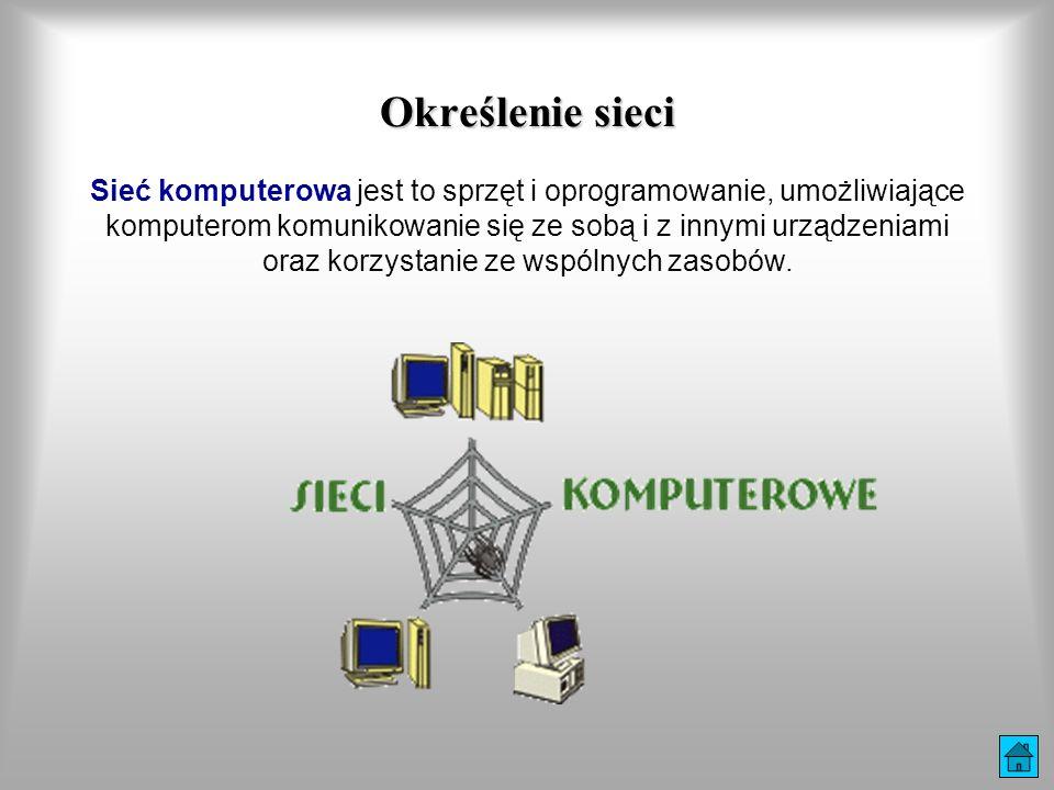 Określenie sieci Sieć komputerowa jest to sprzęt i oprogramowanie, umożliwiające. komputerom komunikowanie się ze sobą i z innymi urządzeniami.