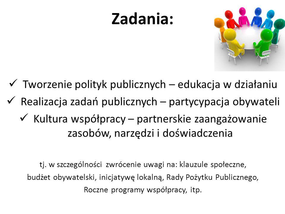 Zadania: Tworzenie polityk publicznych – edukacja w działaniu