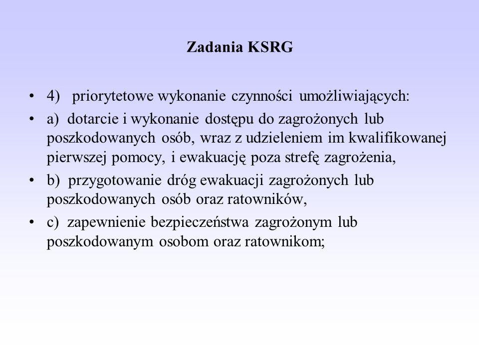 Zadania KSRG 4) priorytetowe wykonanie czynności umożliwiających: