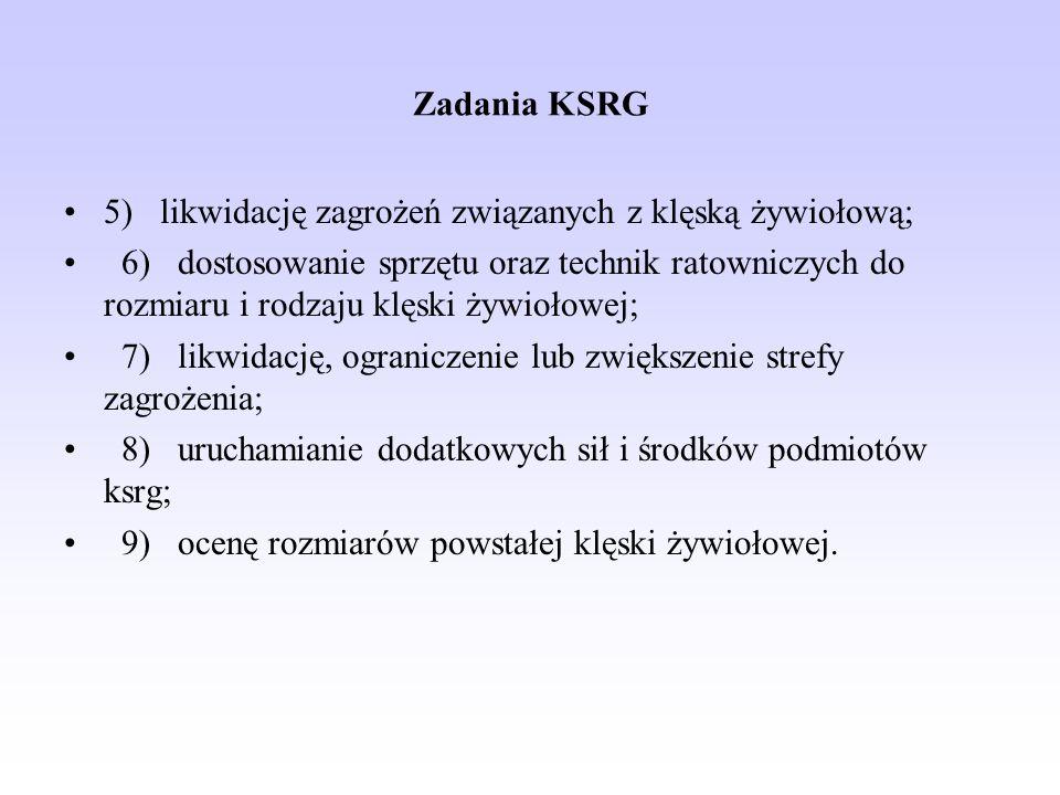 Zadania KSRG 5) likwidację zagrożeń związanych z klęską żywiołową;