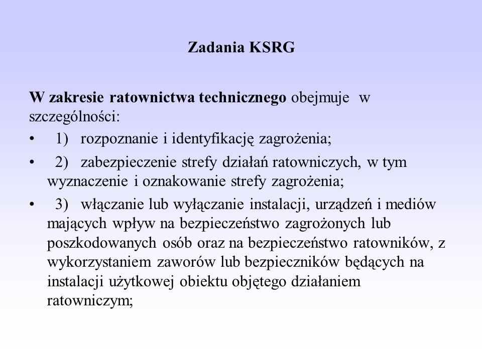 Zadania KSRG W zakresie ratownictwa technicznego obejmuje w szczególności: 1) rozpoznanie i identyfikację zagrożenia;