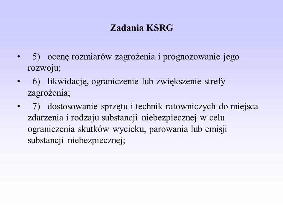 Zadania KSRG 5) ocenę rozmiarów zagrożenia i prognozowanie jego rozwoju; 6) likwidację, ograniczenie lub zwiększenie strefy zagrożenia;