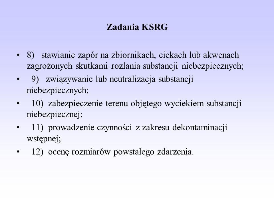 Zadania KSRG 8) stawianie zapór na zbiornikach, ciekach lub akwenach zagrożonych skutkami rozlania substancji niebezpiecznych;