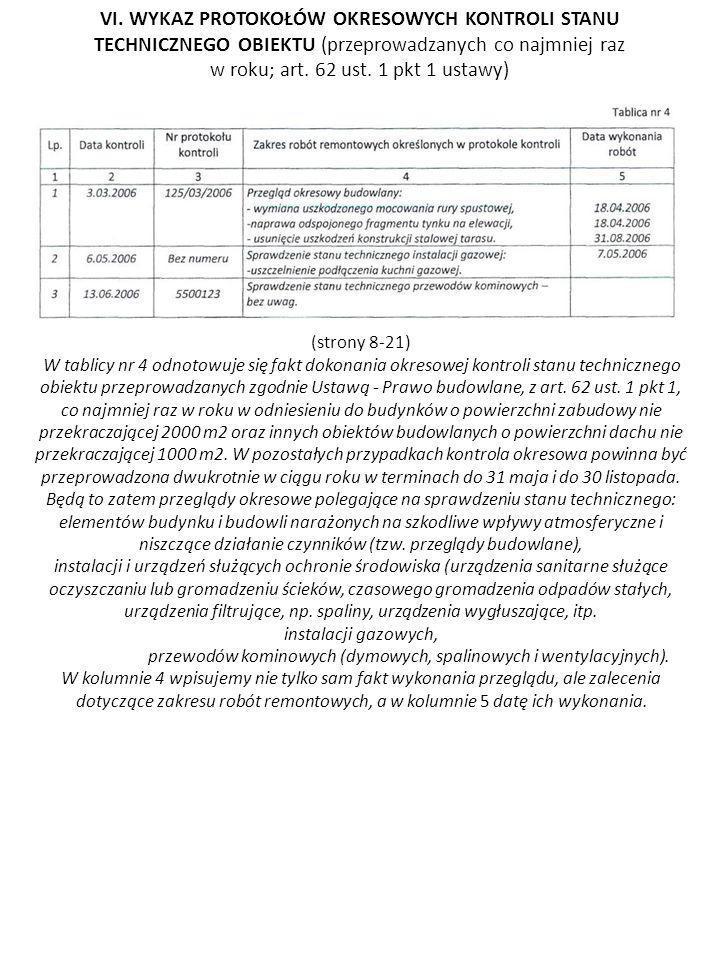VI. WYKAZ PROTOKOŁÓW OKRESOWYCH KONTROLI STANU TECHNICZNEGO OBIEKTU (przeprowadzanych co najmniej raz w roku; art. 62 ust. 1 pkt 1 ustawy)
