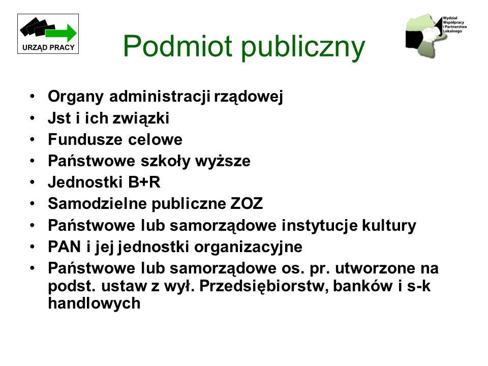 Podmiot publiczny Organy administracji rządowej Jst i ich związki