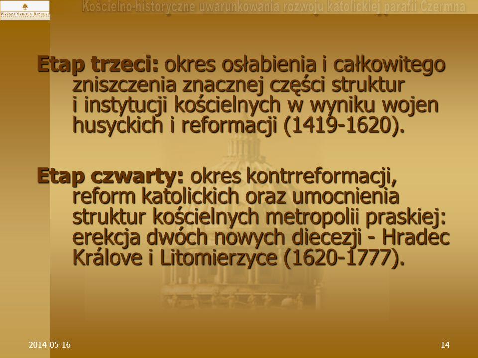Etap trzeci: okres osłabienia i całkowitego zniszczenia znacznej części struktur i instytucji kościelnych w wyniku wojen husyckich i reformacji (1419-1620).