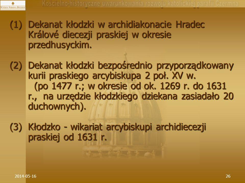 Kłodzko - wikariat arcybiskupi archidiecezji praskiej od 1631 r.
