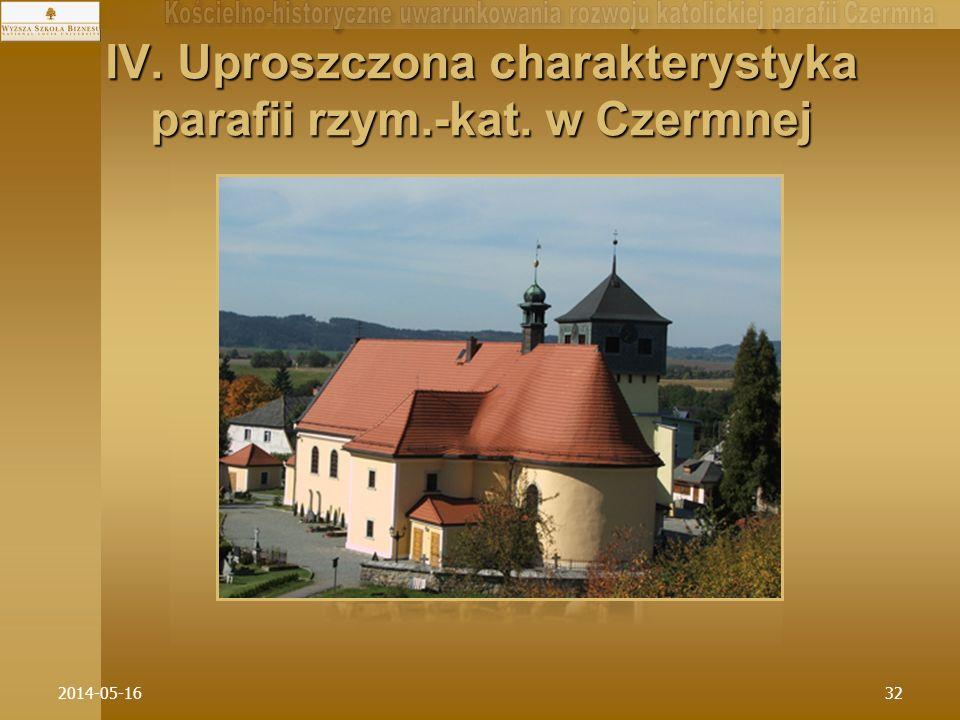 IV. Uproszczona charakterystyka parafii rzym.-kat. w Czermnej