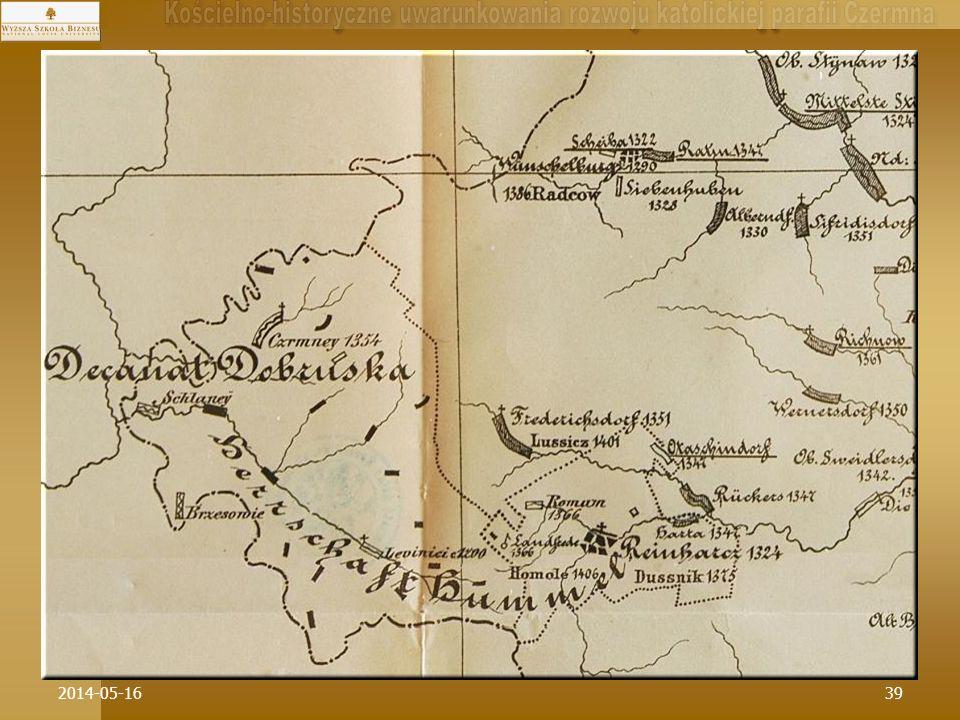 * W dynamikę historycznego rozwoju sieci parafialnej na Ziemi Kłodzkiej w drugiej połowie XIV w. wpisuje się Czermna od razu jako parafia typu wielowsiowego (i zarazem największa weś w przyszłym XIX-nym Czeskim Zakątku).
