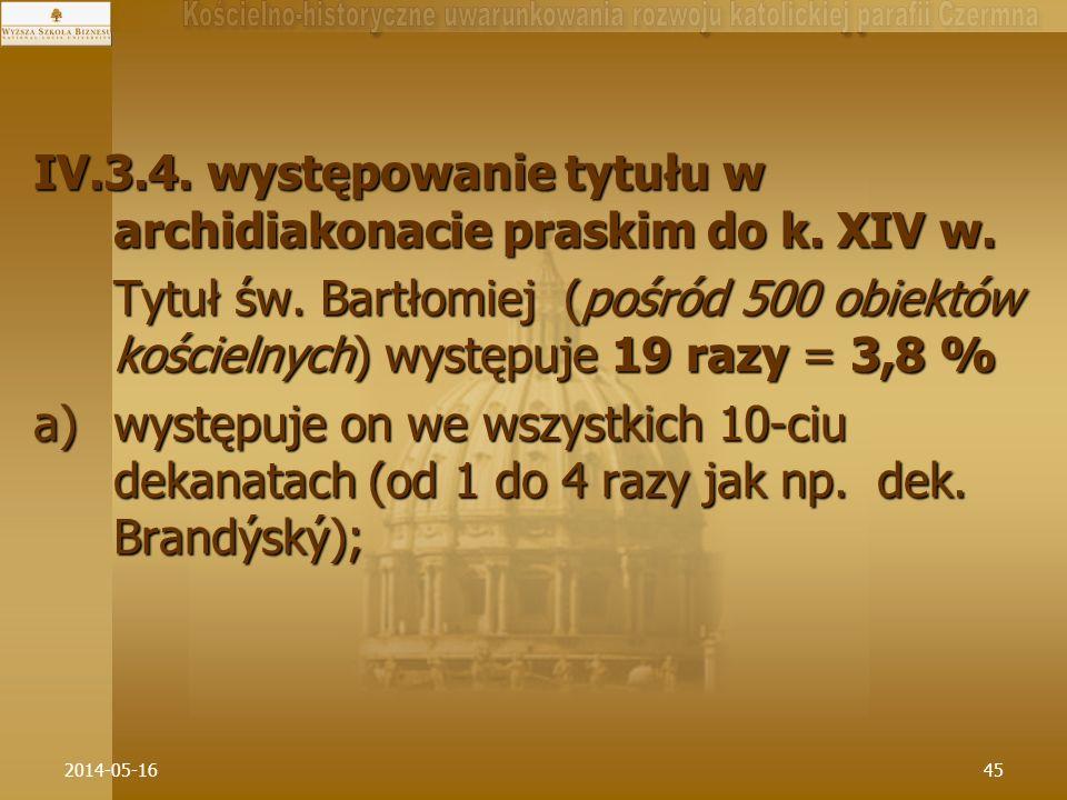 IV.3.4. występowanie tytułu w archidiakonacie praskim do k. XIV w.