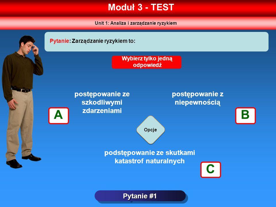 A B C Moduł 3 - TEST postępowanie ze szkodliwymi zdarzeniami