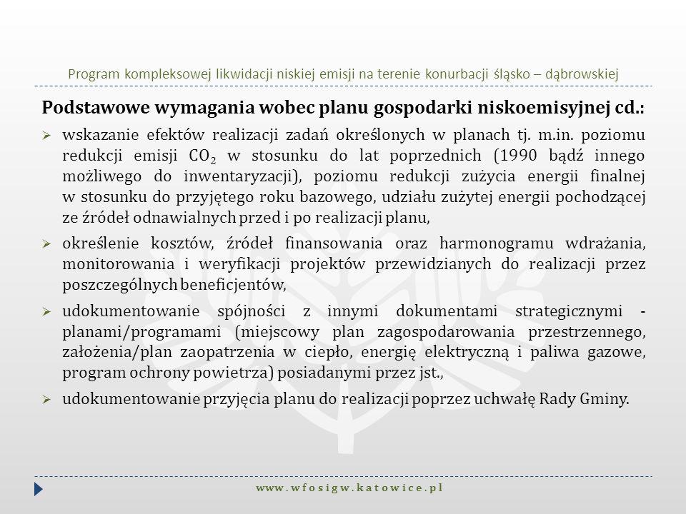 Podstawowe wymagania wobec planu gospodarki niskoemisyjnej cd.: