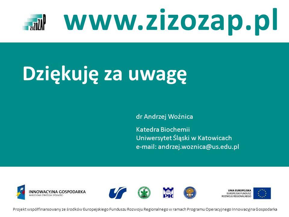 Dziękuję za uwagę dr Andrzej Woźnica Katedra Biochemii